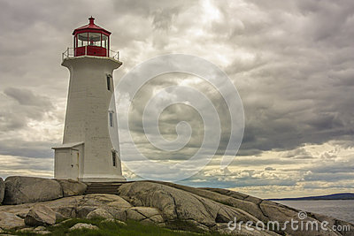 Lighthouse on Rocky Cliff