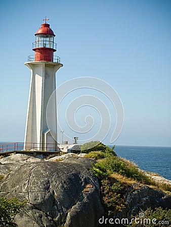 Lighthouse and rocky shoreline