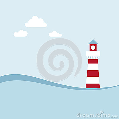 Lighthouse on the sea landscape.