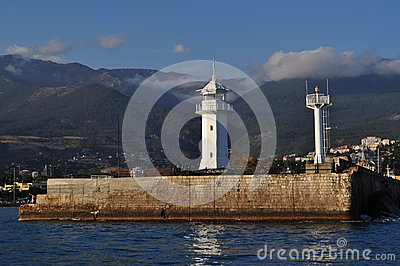 The lighthouse on the seafront at Yalta