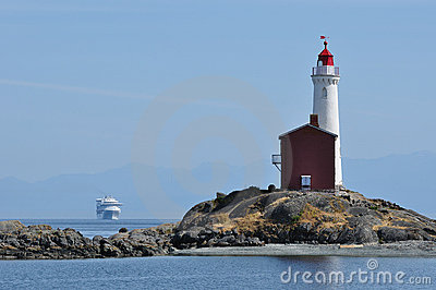 Lighthouse and ship