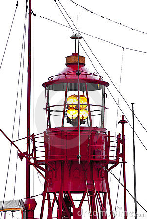 Lighthouse ship in harbor