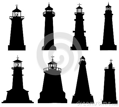 Free Lighthouse Silhouette Set Stock Image - 34963701