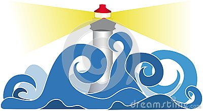 Lighthouse in stormy seas