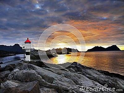 Lighthouse Sunrise Coastline, Lofoten