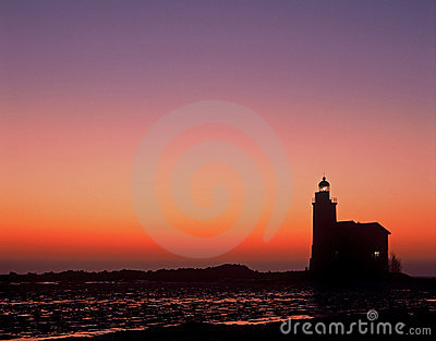 Lighthouse sunrise markermeer the netherlands