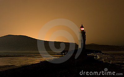 Lighthouse after sunset