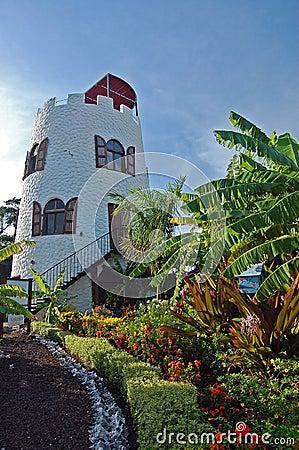 Lighthouse in tropical garden on Grenada Island