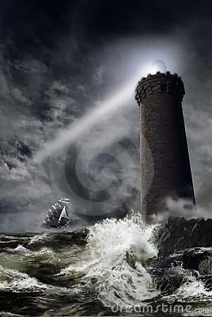 Lighthouse under  the storm