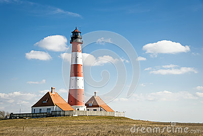 Lighthouse Westerhever on sunny day