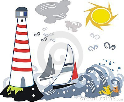 Lighthouse and yacht illustration