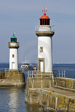 Free Lighthouses Port Of Le Palais At Belle Ile In Fran Stock Photography - 15407652