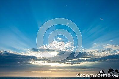 Lighting beam through the cloud