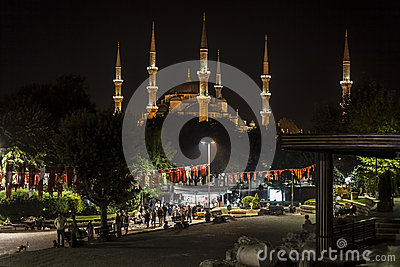 Lighting  Blue Mosque in the night Editorial Image