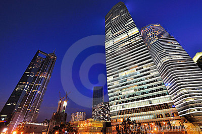 Lighting building Shanghai financial center, China