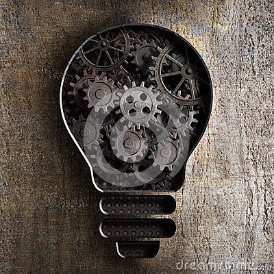 Lighting bulb business concept with working gears and cogs
