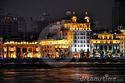 Lighting business building of Shanghai Bund, China