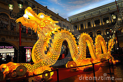 Lighting dragon in the venetian Editorial Photography