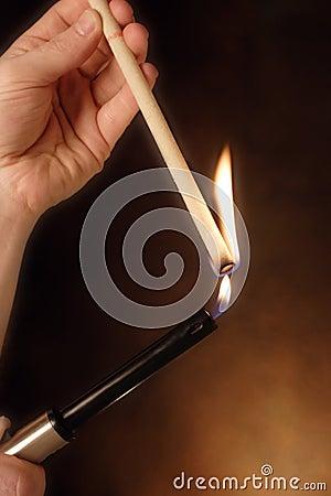 Lighting an ear  candle
