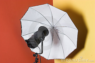 Lighting flash-heads with umbrella