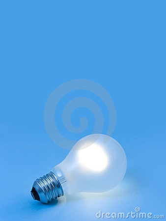 Lighting lamp on blue background