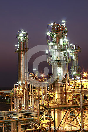 Lighting of Petrochemical factory in night Time