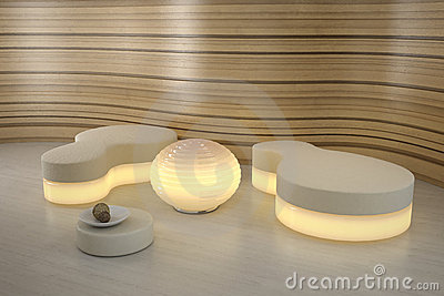 Lighting pouffe in modern room.