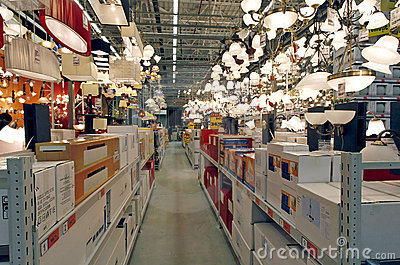 Lighting products department in hardware store Editorial Stock Photo