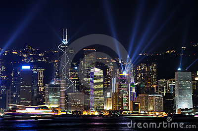 Lighting show of Hongkong Victoria harbor