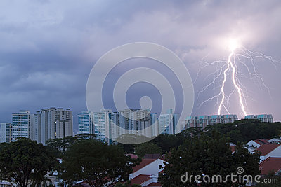 Lighting strike on the housing area