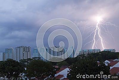 Lighting strike on the housing area