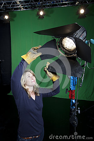 Lighting technician in Television Studio
