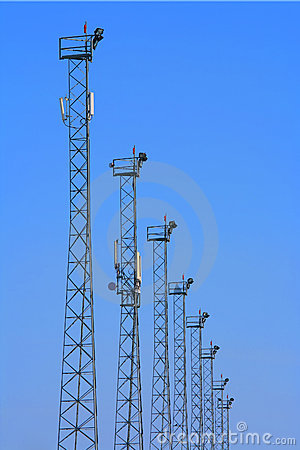 Lighting towers with GSM transmitters.