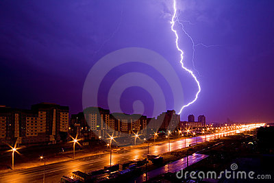 Lightning above night city