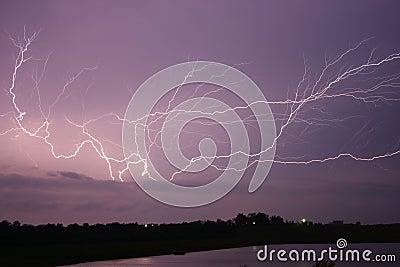 Lightning across the sky