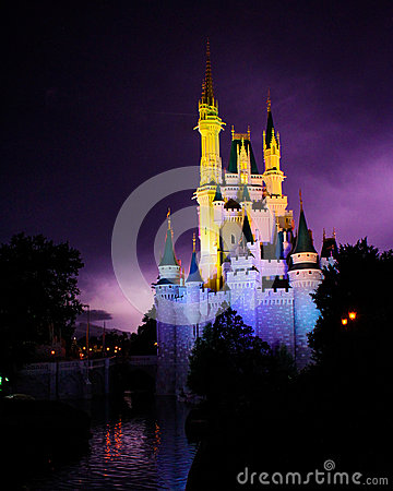Lightning Behind the Magic Kingdom. Editorial Image