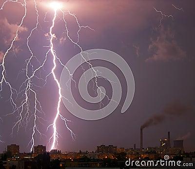 Lightning bolt over city