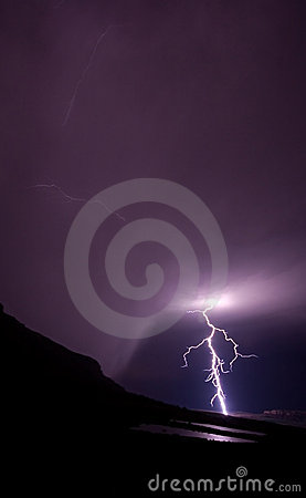 Lightning bolt in rural mountains