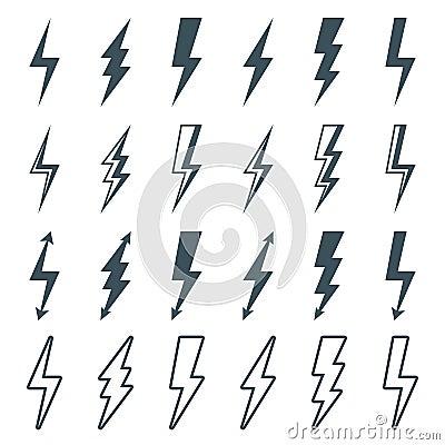 Free Lightning Bolt Set Stock Photography - 64243012