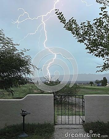 A Lightning Bolt Strikes Outside the Gate