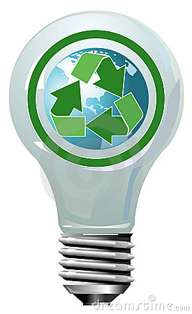 Lightning bulb with globe and recycling symbol