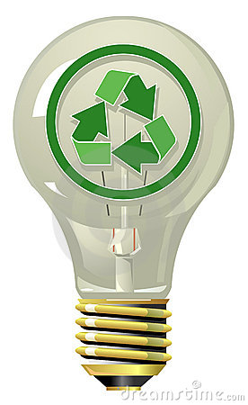 Lightning bulb with recycling symbol