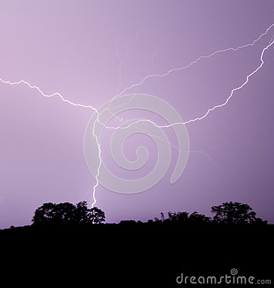 Lightning Crosses Purple Sky
