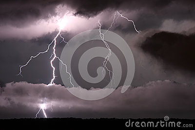 Lightning and low clouds