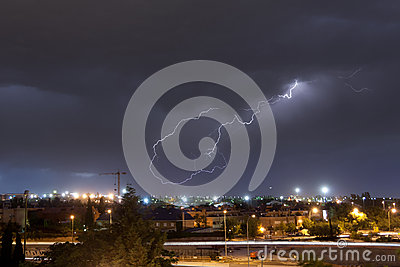 Lightning over the city of Madrid, Spain
