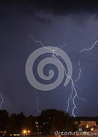 Lightning over housing estate