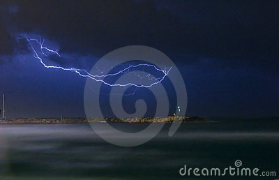 A lightning over the ocean