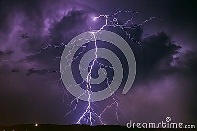 Lightning over the sky of Sibiu