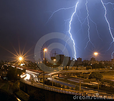 Free Lightning Over The City Stock Images - 10014224