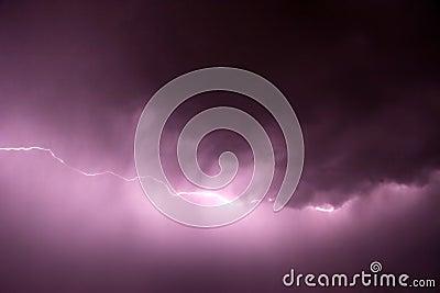 Lightning with purple tint